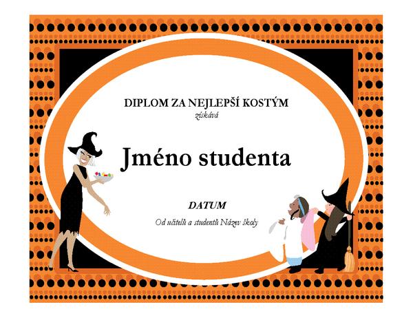 Diplom za nejlepší halloweenský kostým