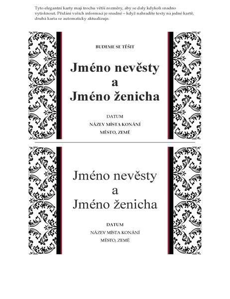 Karta Chystáme svatbu (černobílý svatební design)