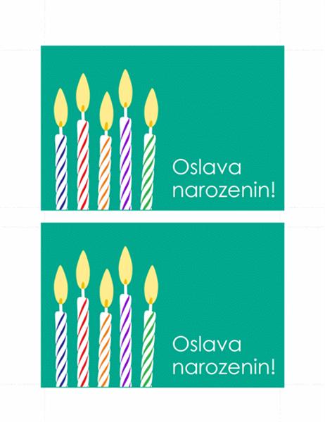 Pohlednice s pozváním na oslavu narozenin