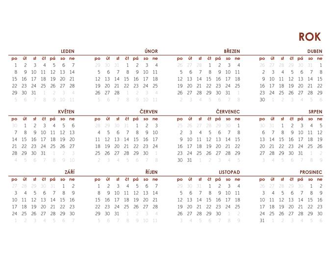 Globální kalendář na celý rok