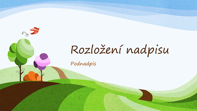 Přírodní prezentace, ilustrovaný design krajiny (širokoúhlý formát)
