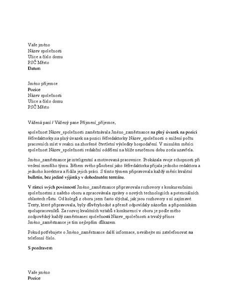 Referenční dopis pro odborného zaměstnance