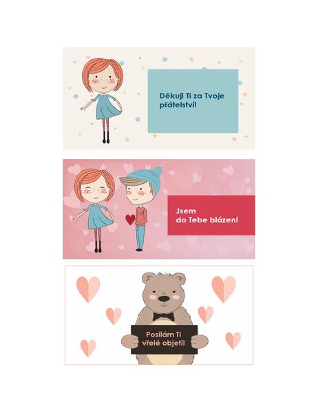 Valentinky pro děti (12 návrhů, 3 na stránku)