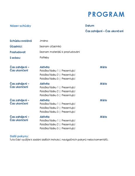 Program celodenních schůzek (formální)