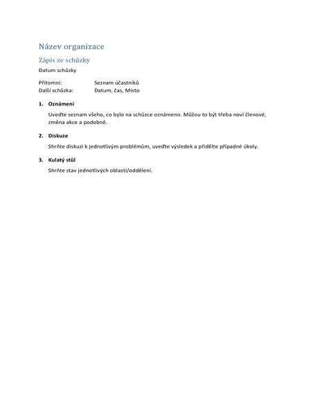 Zápis ze schůzky (stručný formulář)