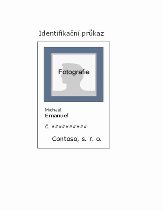 Identifikační průkaz zaměstnance (na výšku)