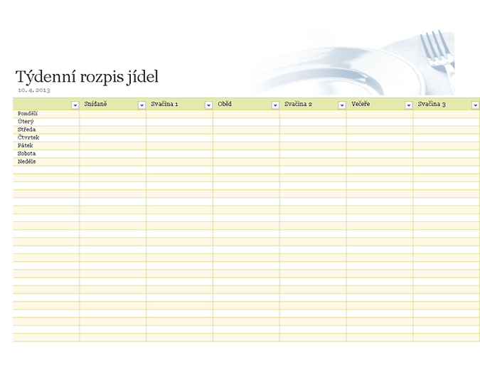 Týdenní rozpis jídel