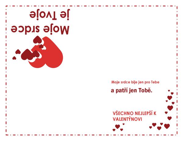 Valentýnské přání (se srdíčky a s přeložením na čtvrtiny)
