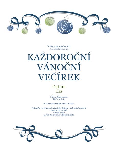 Leták o vánoční párty s ozdobami a modrou stužkou (formální návrh)