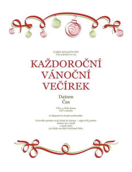 Pozvánka na vánoční párty s ozdobami a červenou stužkou (formální návrh)