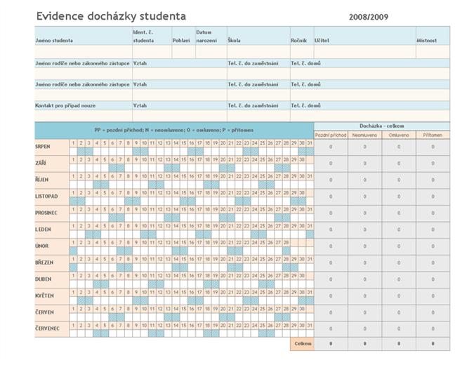 Evidence docházky studentů 2008/2009