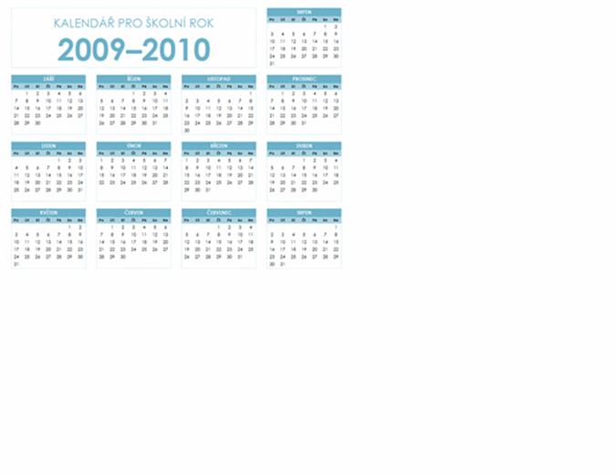 Kalendář akademického roku 2009–2010 (1 stránka na šířku, pondělí–neděle)