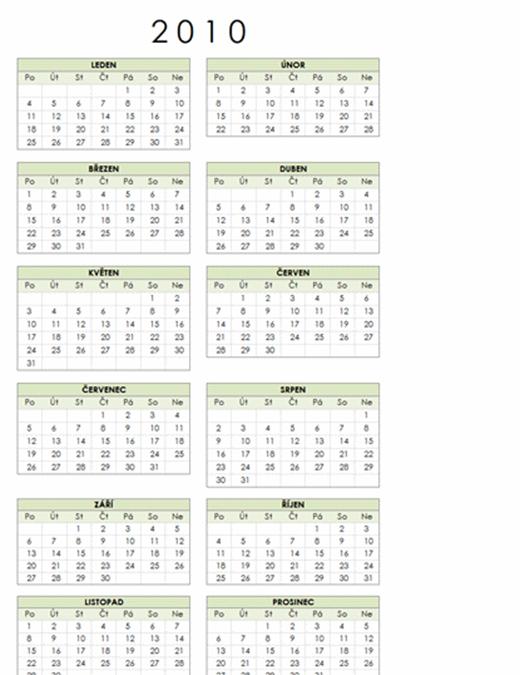 Kalendář 2010 (1 stránka, na výšku, pondělí–neděle)