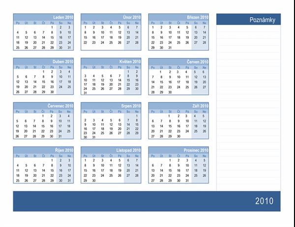 Kalendář 2010 s místem na poznámky (1 stránka, pondělí až neděle)