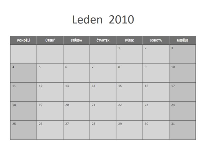 Kalendář 2010 (pondělí až neděle)