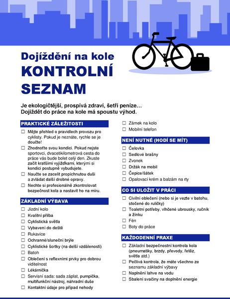 Kontrolní seznam pro dojíždění na kole