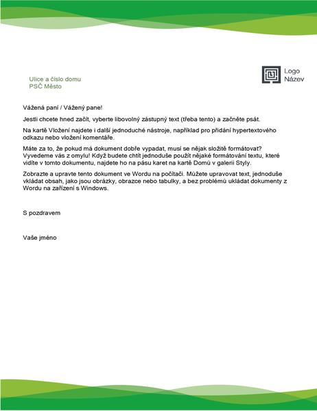 Hlavičkový papír (návrh se zelenou vlnou)