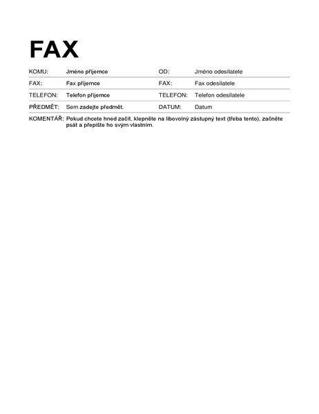 Titulní stránka faxu (standardní formát)
