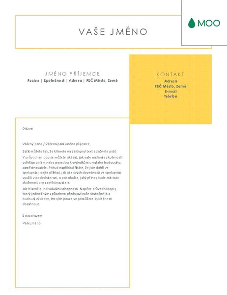 Jasný a přehledný průvodní dopis, návrh od společnosti MOO