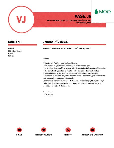 Elegantní průvodní dopis, návrh od společnosti MOO