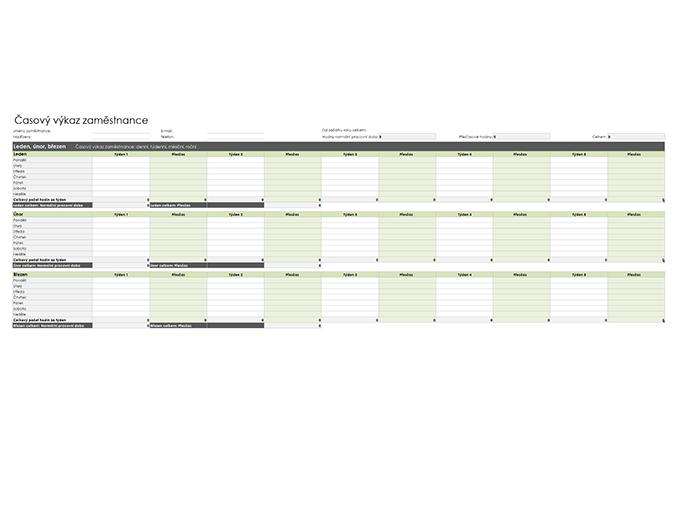 Časový výkaz zaměstnance (denní, týdenní, měsíční a roční)