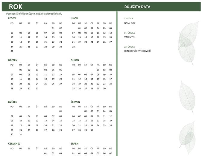 Kancelářský kalendář (libovolný rok, neděle–sobota)