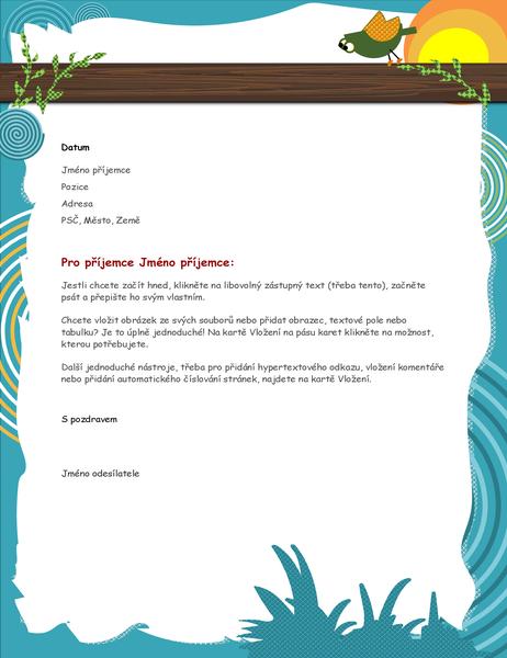 Hlavičkový papír s kresleným ptáčkem