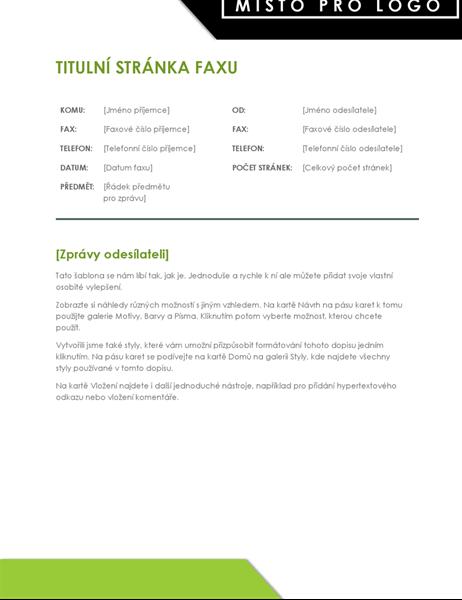 Titulní stránka faxu s výrazným logem