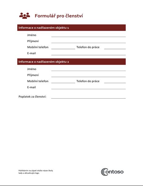 Formulář pro členství