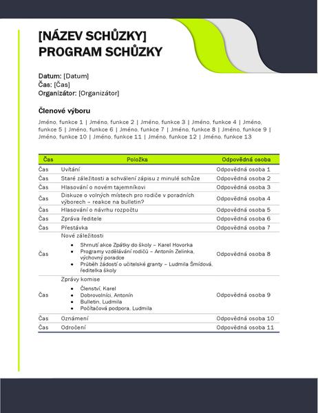 Program schůzky pro vzdělávací organizace