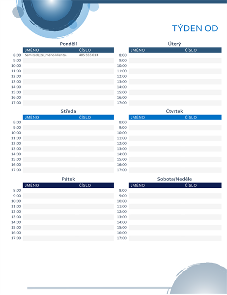 Kalendář schůzek s modrými kruhy