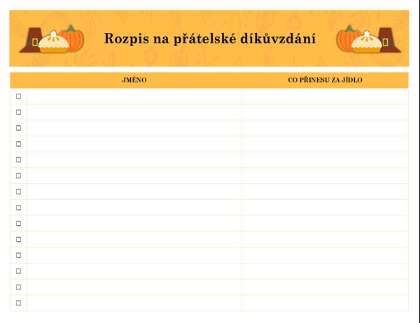 Registrační formulář na přátelské díkůvzdání
