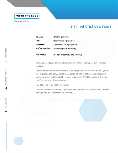 Úvodní stránka faxu se šestiúhelníky