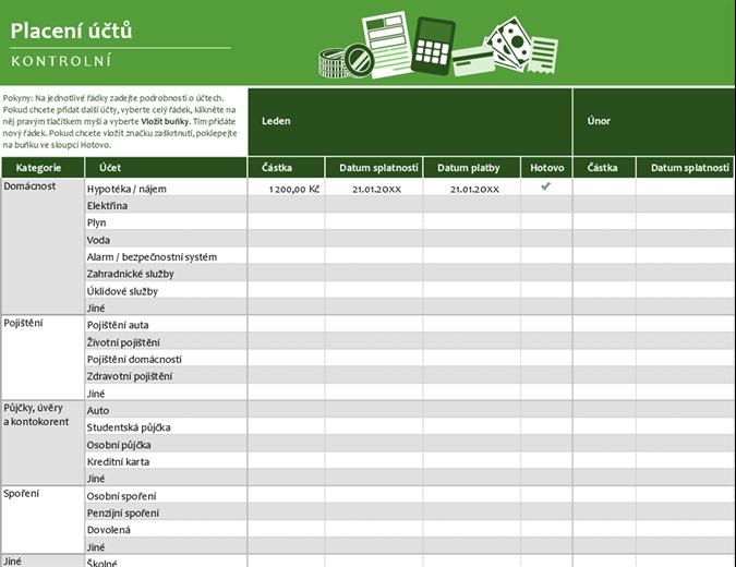 Kontrolní seznam pro placení faktur