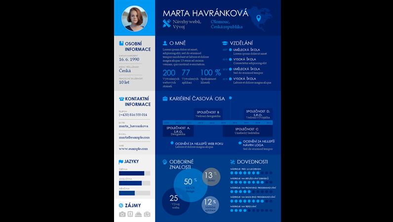 Profesionální životopis s časovou osou – infografika