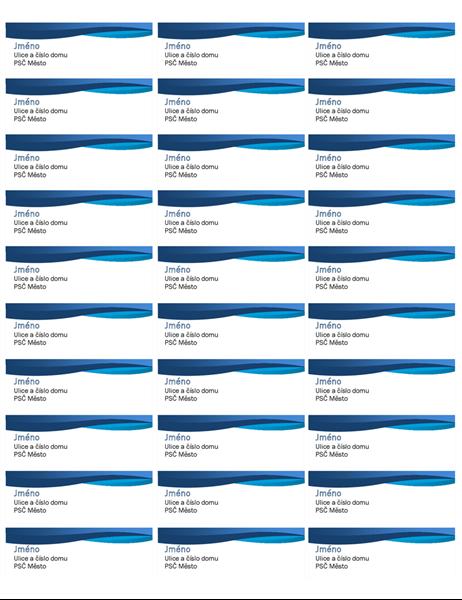 Štítky s modrou křivkou (30 na každé stránce)