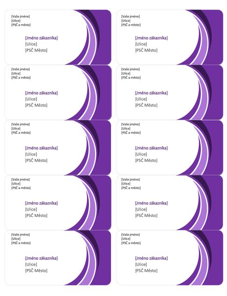 Fialové přepravní štítky (10 na každé stránce)