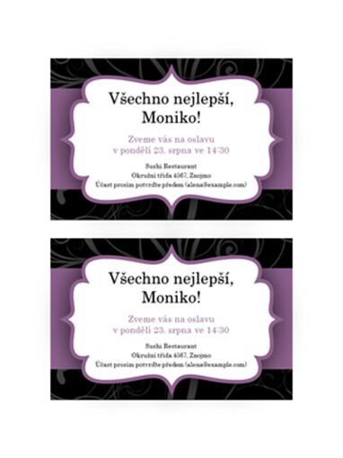 Pozvánka na oslavu (design s fialovou stuhou)