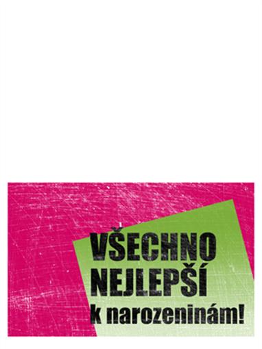 Přání k narozeninám, poškrábané pozadí (růžové, zelené, přeložené napůl)