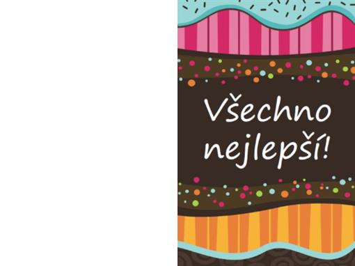 Přání k narozeninám – puntíky a pruhy (dětské, překládání napůl)