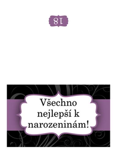 Přání k narozeninám (návrh s fialovou stuhou, přeložený napůl)