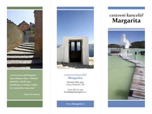 Cestovní brožura ve formě trojskládanky (modrá, zelená)