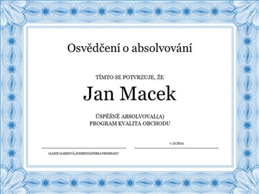 Osvědčení o absolvování (modré)