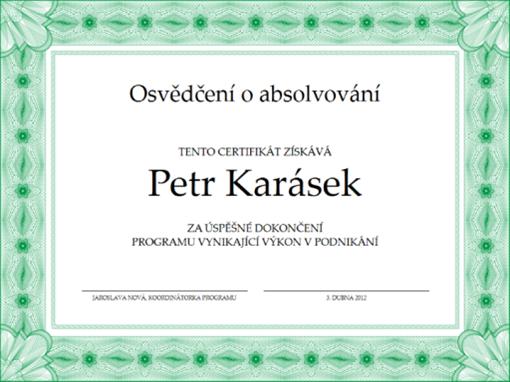 Osvědčení o absolvování (zelené)