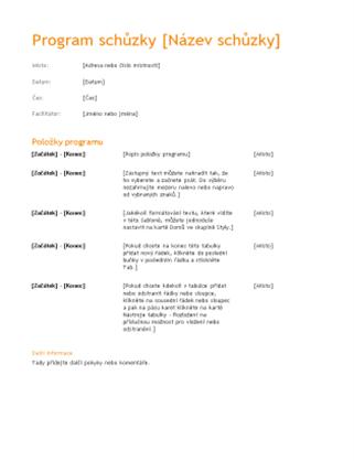 Program obchodní schůzky (oranžový design)
