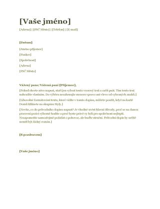 Průvodní dopis k životopisu (zelený)