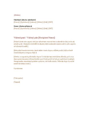 Formální obchodní dopis