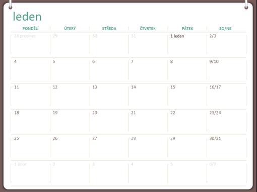 Kalendář na rok 2018 (Po–Ne, návrh se dvěma kroužky)