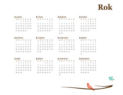 Roční kalendář 2018 (pondělí–neděle)
