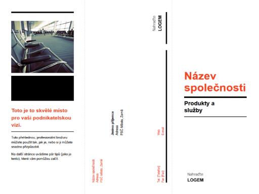 Obchodní brožura ve formě trojskládanky (černo-červené provedení)